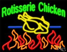 Rotisserie Chicken Business Neon Sign - 24 x 31 x 3 inches - Made in USA