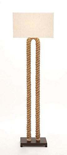 Rope floor lamp nautical lighting tall standing lamp with for Floor lamp with rope stand