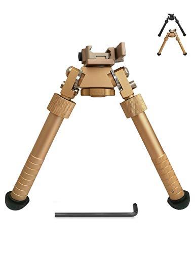 Suoki Tactic Rifle Bipod 6.5-9.5 Inch Adjustable Leg 360° Rotatable 20mm Picatinny Rail Hunting Bipod with Wrench(Tan)