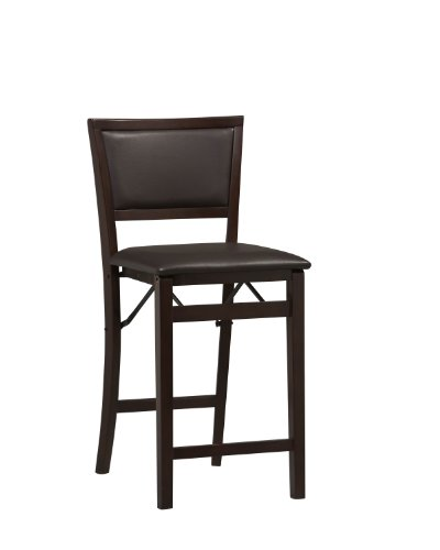 Folding Chair Seat Pad - Linon Home Decor Keira Pad Back Folding Counter Stool, 24-Inch
