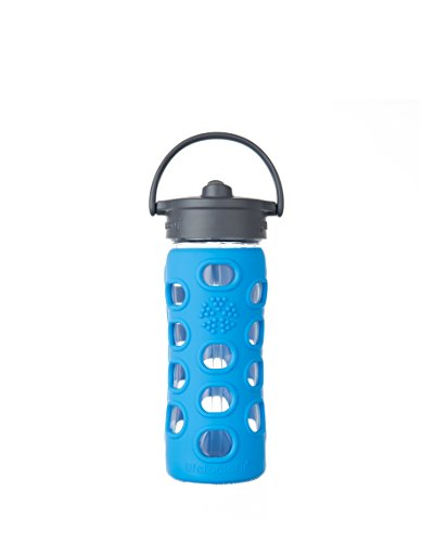 Blue Polycarbonate Water Bottle - Lifefactory 12-Ounce BPA-Free Glass Water Bottle with Straw Cap and Silicone Sleeve, Ocean
