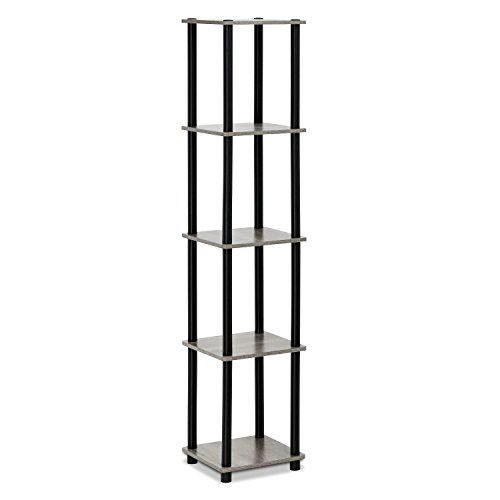 Furinno 99132GYW/BK Turn-N-Tube 5-Tier Corner Square Rack Display Shelf, Round, French Oak Grey/Black