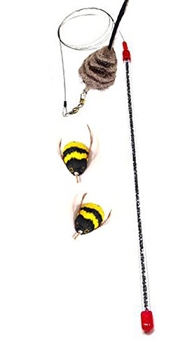 CoolCyberCats Go Cat Cat Catcher Teaser Wand and Two Da Bee Bumble Bee Attachments from The Maker of Da Bird - Value Pack