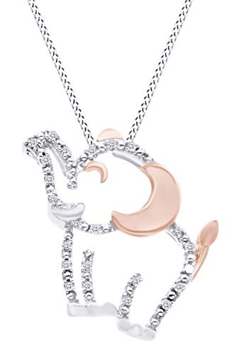Mothers Day Jewelry Gifts Round Natural Diamond Accent Two Tone Elephant Pendant Necklace in 14K White Gold Over Sterling Silver - Elephant Two Tone