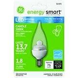 GE Lighting 76456 Energy Smart LED 2-Watt (10-watt replacement) 60-Lumen Bent Tip Light Bulb with Candelabra Base, 1-Pack