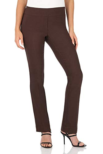 Control Wide Leg Pants - Rekucci Women's Ease in to Comfort Straight Leg Pant with Tummy Control (10,Brown)
