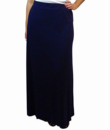 Women's Plus Size Full Length Maxi Skirt Banded Waist Navy Blue 3X
