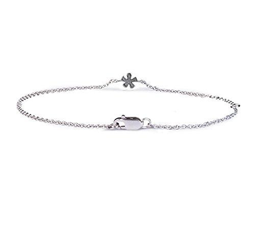 Or Blanc 14 ct Bracelet Diamant en forme de Fleur, 0.03 Ct Diamant, GH-SI, 1.73 grammes.