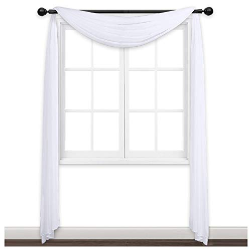 NICETOWN Sheer Curtains Panels 216 - Home Decoration Sheer Voile Scarf Valance for Wedding (1-Pack, W60 x L216, White) - Window Panel Fabric