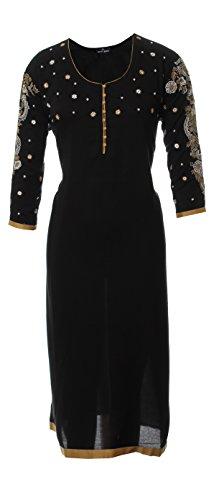 AzraJamil-Sassy-Black-Fine-Cotton-Embroidered-Kurta-Black