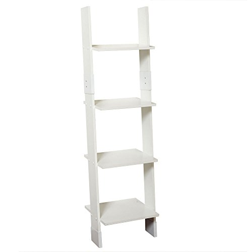 (Zenna Home 9437W, Wood Ladder Linen Tower, White)