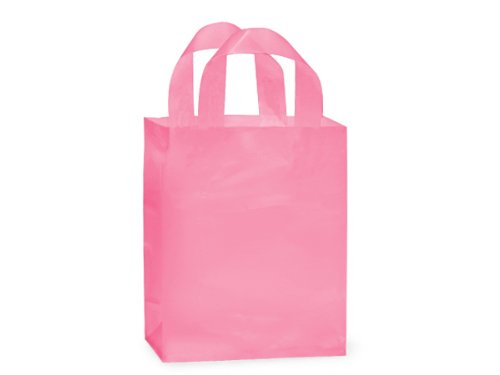 """Frosted Plastic Gift Bags with Handle 8""""x4""""x10"""" 24 Pcs (Pink)"""