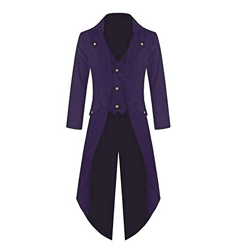 (YOcheerful Men Women Coat Tuxedo Coat Formal Suit Tailcoat Jacket Uniform Costume Praty Outwear Vintage Trench Coat Overcoat (Purple,US-XS/Label-S))