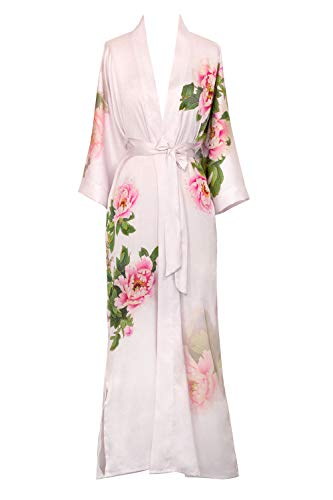 Old Shanghai Women's Kimono Robe Long - Watercolor Floral, peony & bird - pink,One Size.