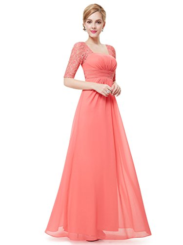 Ever-Pretty Juniors Lace Sleeve Long Prom Gown 8 US Coral (Coral Lace Gown)