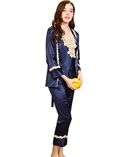 Moda Larga Tanque Cardigan Albornoz Hermoso Pijamas Especial Otoño Pijama Elegante 3 De Satín Splice Del Blau Piezas Primavera Tapas Manga Silk Pants Camisones Mujer Encaje Conjunto Estilo BwU8qfw