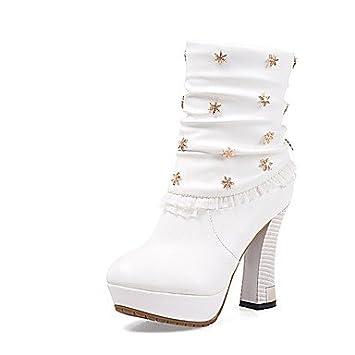 Zapatillas de deporte para mujer iMEILY botines con tacón Chunky Fashion con logo bordado con Blanco