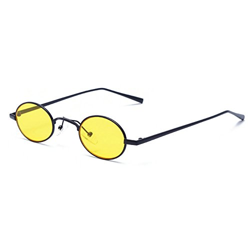 Sexy Designer Sunglasses - MINCL/Faashions Vintage Small Oval Sunglasses Unisex Chic Sexy Luxury Brand Designer Eyewear UV400 (yellow)
