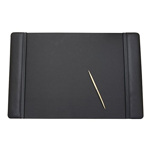 Dacasso Black Leather Desk Pad with Side Rails, 22-Inch by 14-Inch by Dacasso