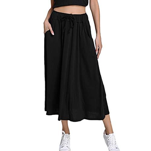 TWGONE Pocket Skirt for Women Summer Long Midi Pleated Solid Color Elastic Waist Skirts(Medium,Black)