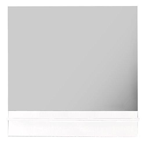 Roma Mirror 40-inch Wide Frameless Wall Mirror with Shelf, Black, Rectangular, Made in Spain (European Brand) (white) by Hispania bath