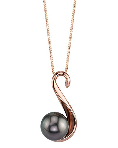 THE PEARL SOURCE 8-9mm Genuine Black Tahitian South Sea Cultured Pearl Rose Gold Anastasia Pendant Necklace for Women (Tahitian Black Pearl Genuine)