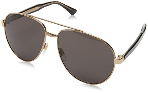 Gucci GG0054S 001 Endura Gold with Black/Crystal Temples and Grey Lens - Sunglasses With Gucci Aviator Crystals