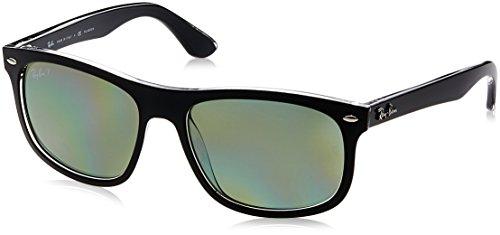 Ray-Ban INJECTED MAN SUNGLASS - TOP MATTE BLACK ON TRANS Frame DARK GREEN POLAR Lenses 56mm - Top 2015 For Men Sunglasses