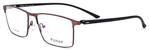 FONEX Myopia Prescription Optical Glasses Frame for Men Women with TR90 Square F10018 - Eyeglass Titanium Frames