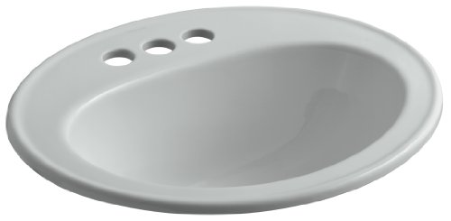 KOHLER K-2196-4-95 Pennington Self-Rimming Bathroom Sink, Ice Grey 95 Ice Grey Vessels