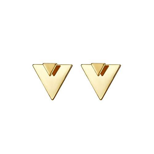 LOYATA Open Triangle Geometric Earring, 14K Gold Plated Unique Piercing Stud Earring Ear Jacket Dangle Earrings for - Plated Gold Cuff Brass