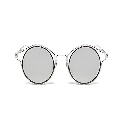 Rétro Métal Argent Dames Protection Ronde Femme Blanc Mirror Lunettes Classique Mode De Cadre Xinvision Uv Superlight Soleil CwTBq5p