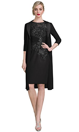 2ed82ada72f Romanlisa Women s Scoop Neck Knee-Length Chiffon Lace Mother of the Bride  Dress with Jacket Black 2