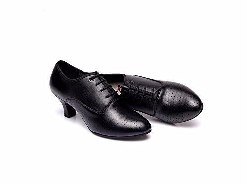 SQIAO-X- Scarpe da ballo Kraft Suola in gomma morbida la piattina di massa di usura imbottitura traspirante, adulto, e Square Dance Dance Latina Professional scarpe da ballo, Nero all'aperto(35).