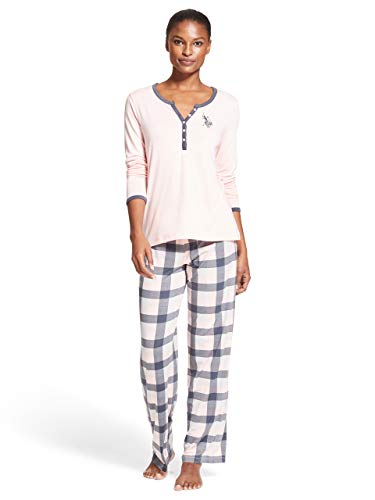 U.S. Polo Assn. Womens Long Sleeve Shirt and Plaid Pajama Pants Sleepwear Set Light Pink Large