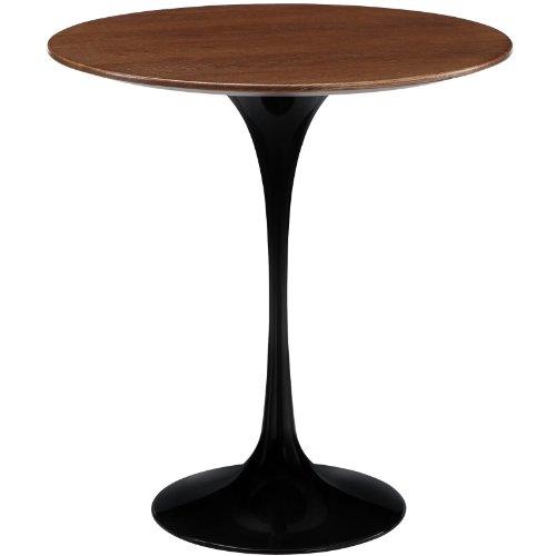 Modway Lippa 20 Walnut Wood Side Table in Black