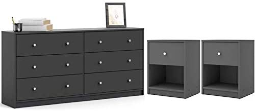 Home Square 3 Piece Dresser and Nightstand Bedroom Set in Gray