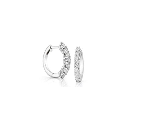 Prong Set 0.55Ct Round Cut Diamond F/SI1 Jewelry 14K Solid White Gold Hoop Huggie Earrings For Women