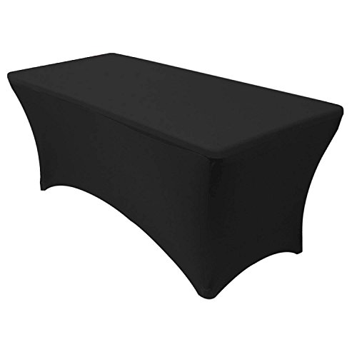 Adorox (6 ft Black) Stretch Fabric Spandex Tight Fit Table Cloth Cover