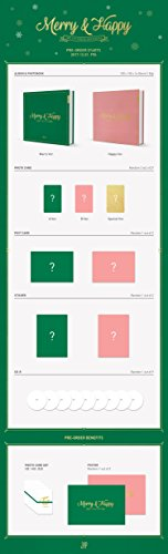 Twice -[Merry & Happy]1st Repackage Happy Ver CD+84p Photo Book+3p Photo Cards+1p Post Card+1p Sticker Okay-POP SEALED
