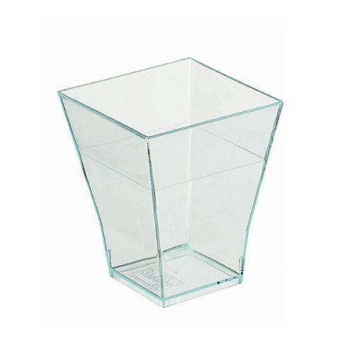 Taiti Clear Green Square Cup (Case of 30), PacknWood - Transparent Recyclable Plastic Bulk Case of Cups (2 oz, 1.7