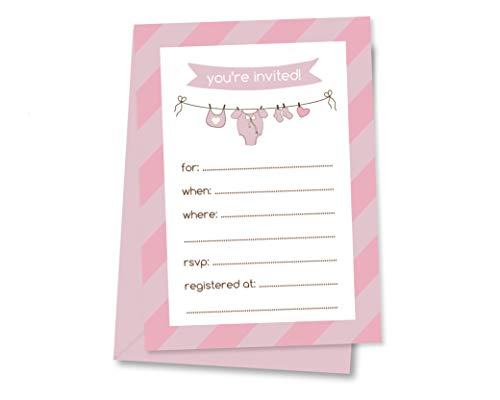 - 12ct Baby Shower Invitations, Envelopes Included 5x7, Clothesline Baby Shower (INVT107-BL)