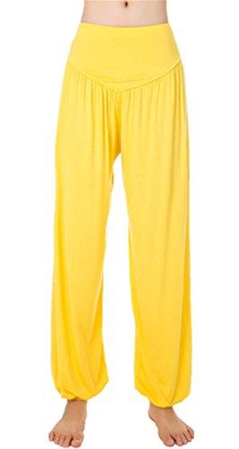 Lanmay Women's Elastic Soft Modal Cotton Yoga Sports Pants Dance Harem Pants Large Yellow (Yellow Pajama Pants)