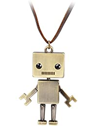 Vintage Robot Charm Long Necklace Fashion Leather Cord Bot Jewelry Gift Brown(Fn1803)