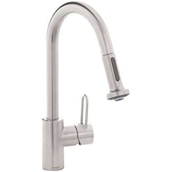 hansgrohe metro kitchen faucet hansgrohe metro e high arc pull out kitchen faucet stainless steel optic 06697860 touch on 9720