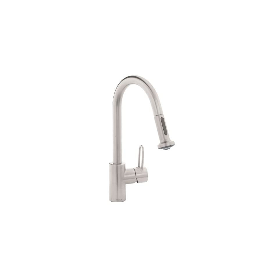Hansgrohe Metro E High Arc Pull Out Kitchen Faucet Stainless Steel Optic 06697860 On Popscreen