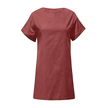 Gofodn Dresses for Women Plus Size Summer Elegant Casual Solid Short Sleeve Cotton and Linen Beach Party Dress 31vjO 2BgXOBL