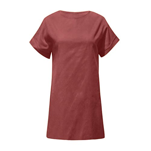 Linen Dress Comfortable and Breathable Sales NRUTUP Women Summer Casual Solid Comfy Dress O-Neck Short Sleeve Midi Dress ()