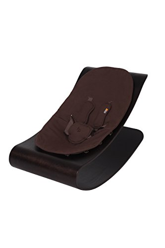 bloom Coco Stylewood Modern Baby Lounger / Rocker / Bouncer - Cappuccino Frame w/ Organic Cotton Baby-Facing Seat Pad (Henna Brown) by BLOOM