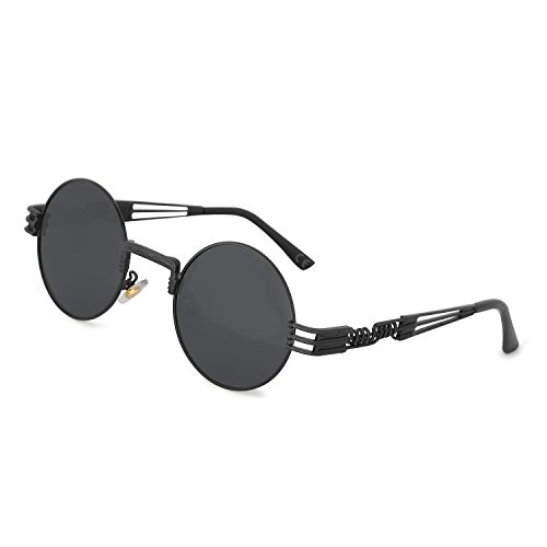 Sol Metal Gafas Steampunk Marco Negro de Marco de Gafas Vendimia de Gris Redondo Lente AMZTM 1xqIw5z